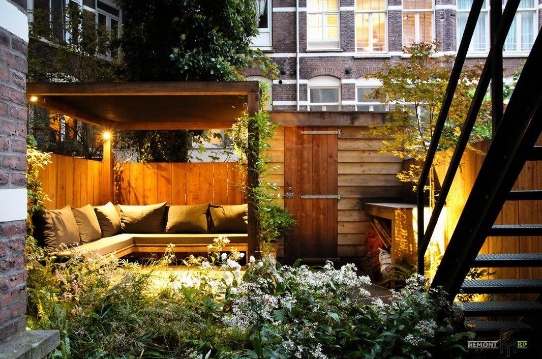 Backyard and Garden Gazebo: Design, Form, Use and Practical Advice. Small backyard angular gazebo with lighting