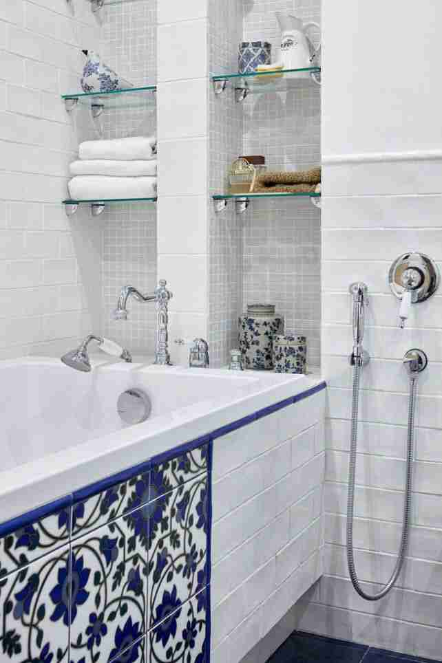 Bathroom Shelves: Fashionable Trends of Practical Interior Decoration. Classic space with Moroccan tile at the side board