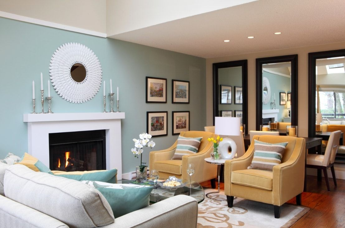 130 Square Feet Living Room most Effective Design Ideas. Original light blue wall paint and decorative fireplace