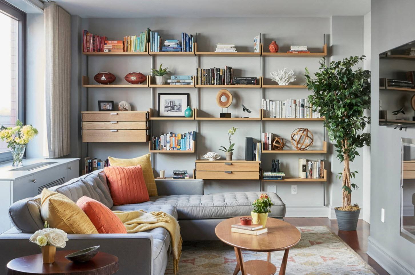 Shelving for decorating the gray colored living room