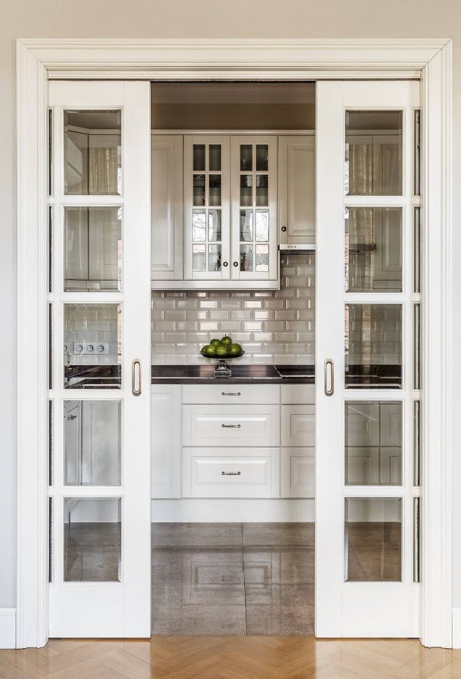 90 Square Feet Kitchen Interior Design Ideas & Examples. Sash doors to separate the cooking zone