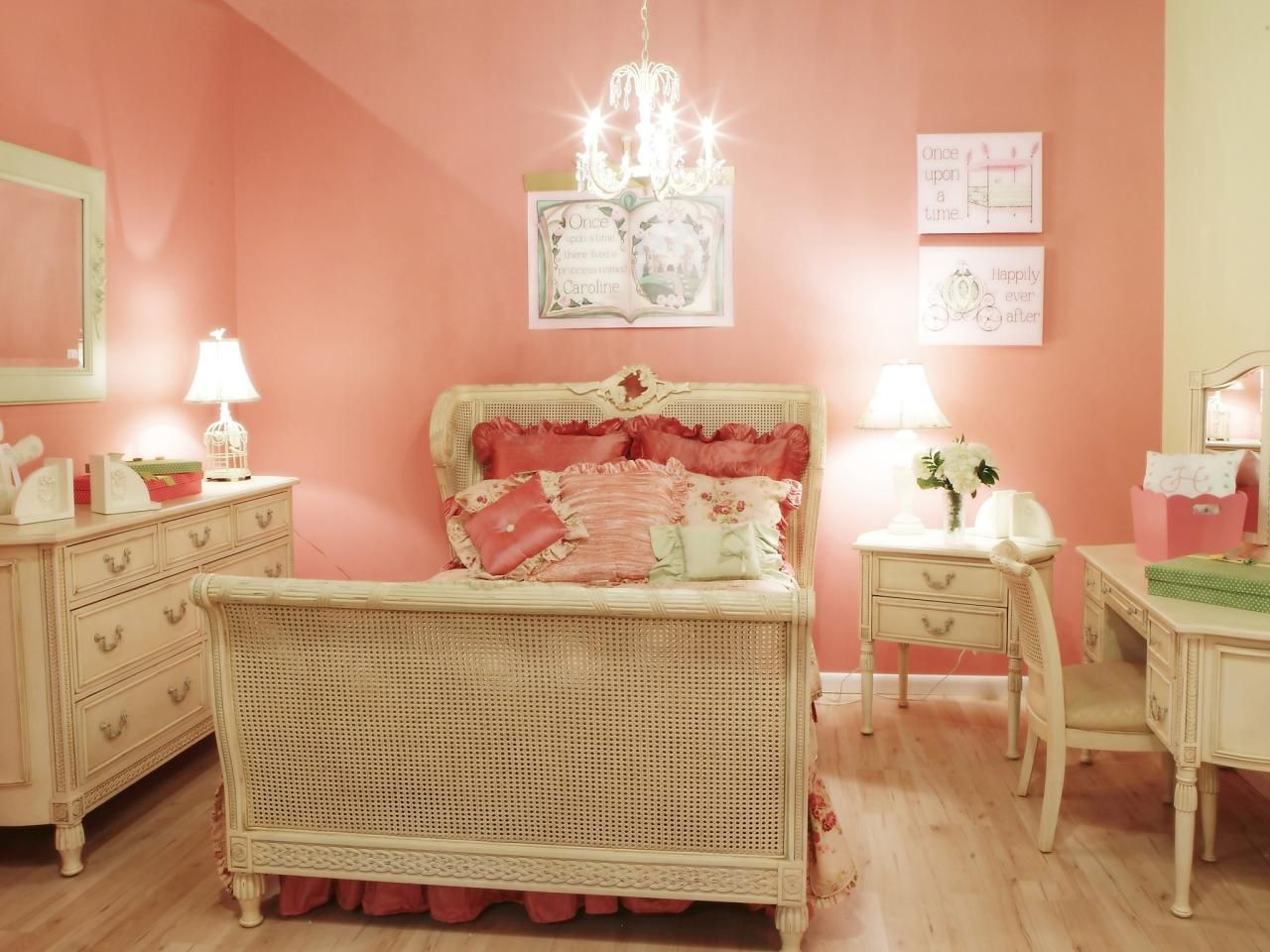 Pink decorated and wicker light furniture
