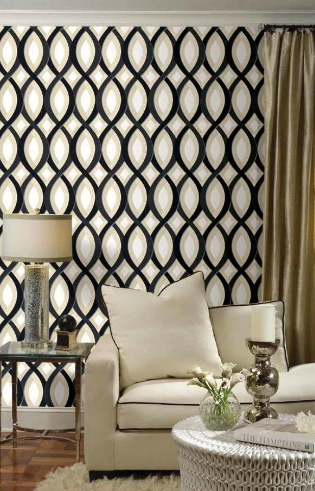 Black and White Wallpaper: Ageless Classics in any Interior. Wavy contrasting decoration for walls in the living