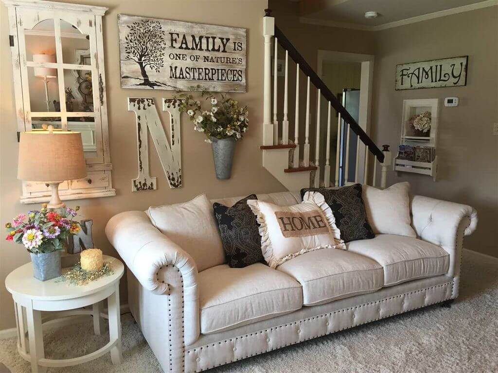 130 Square Feet Living Room most Effective Design Ideas. Leather upholstered classic gray sofa and Scandinavian designed wall with trifles