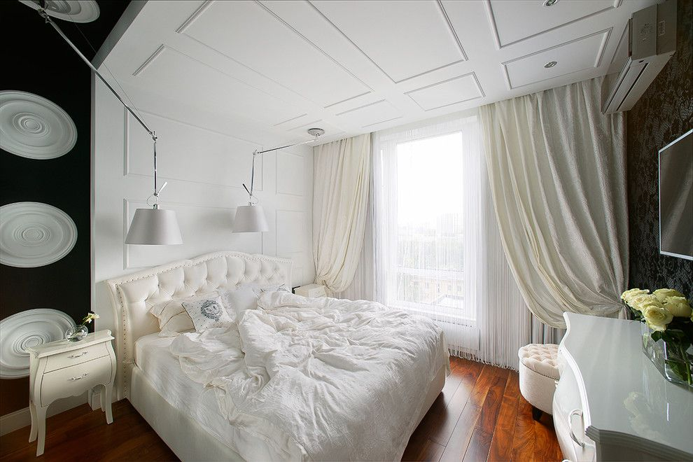 150 Square Feet Bedroom Interior Decoration and Photos. Wavy curtains in royal designed bedroom with Classic decorations