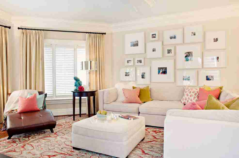 Picture of different size collection in the neat ivory finished living with carpeting