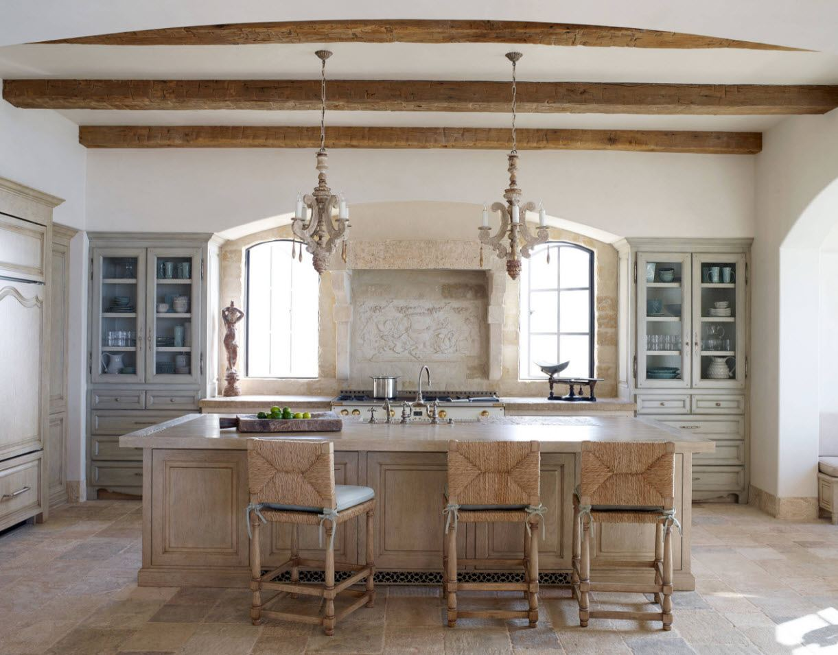 Exposed ceiling means of the ceiling in the ethnic designed large kitchen with sash windows