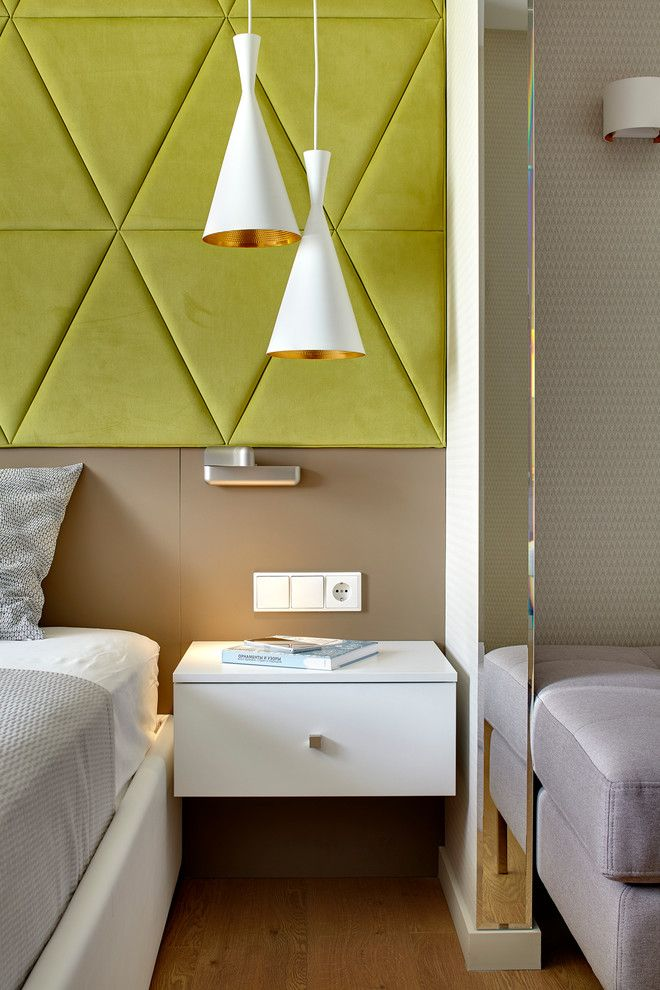 150 Square Feet Bedroom Interior Decoration and Photos. Soft green headboard of triangles in modern styled room