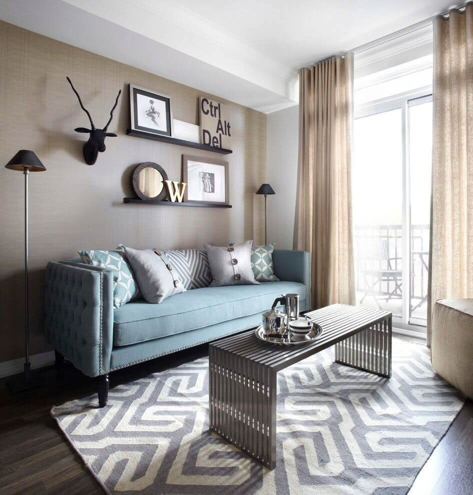 130 Square Feet Living Room most Effective Design Ideas. Striped neat rug designating the living zone with metal coffee table