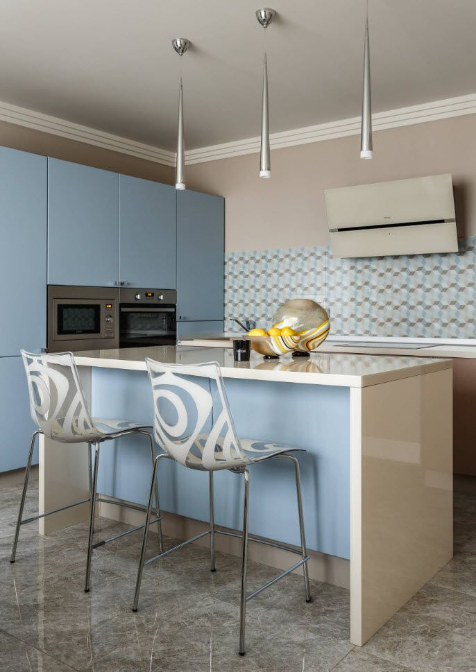 Light blue color for neat kitchen with island