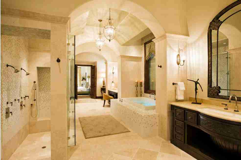 Arched passway into the bathroom