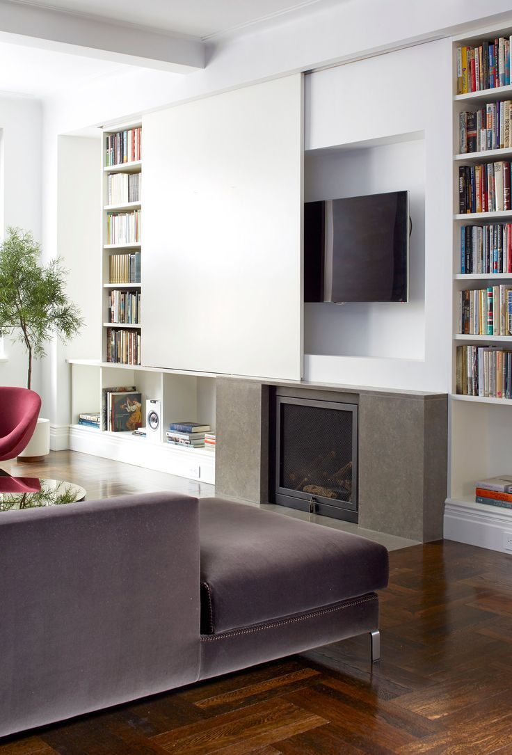 Sliding partition for the modern designed living room with elctric fireplace and TV