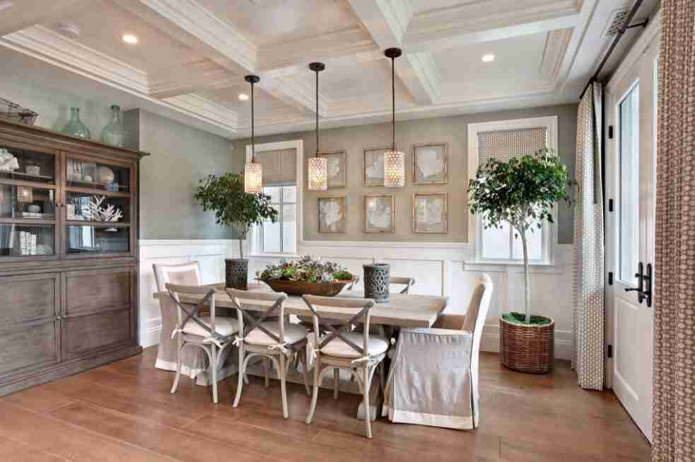 Ivory Interior Decoration Ideas, Photos, Advice. Large open space dining room with gray-beige background