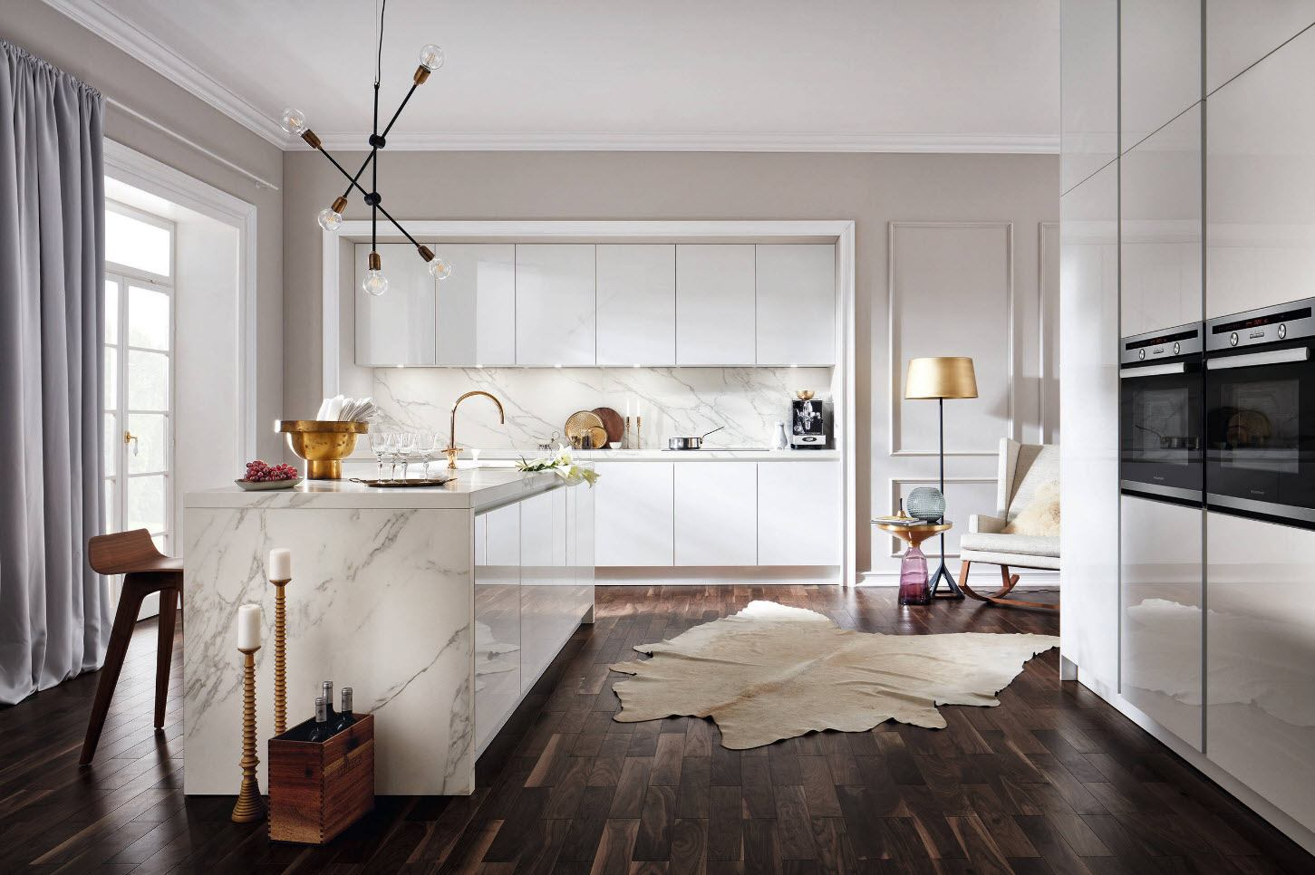 90 Square Feet Kitchen Interior Design Ideas & Examples. Natural dak hard wood floor for combined kitchen in the house