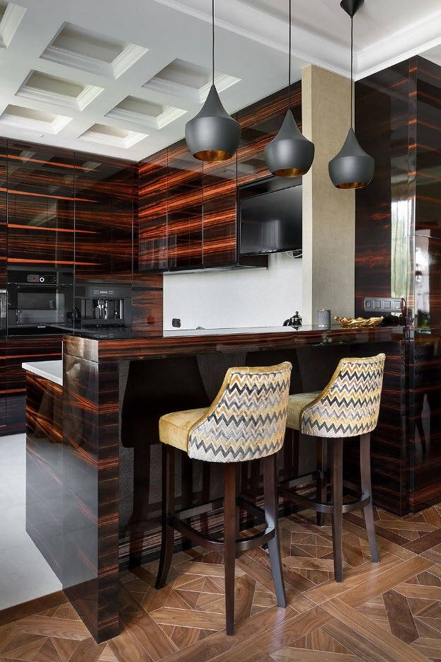 Two colored laminated glossy kitchen facades