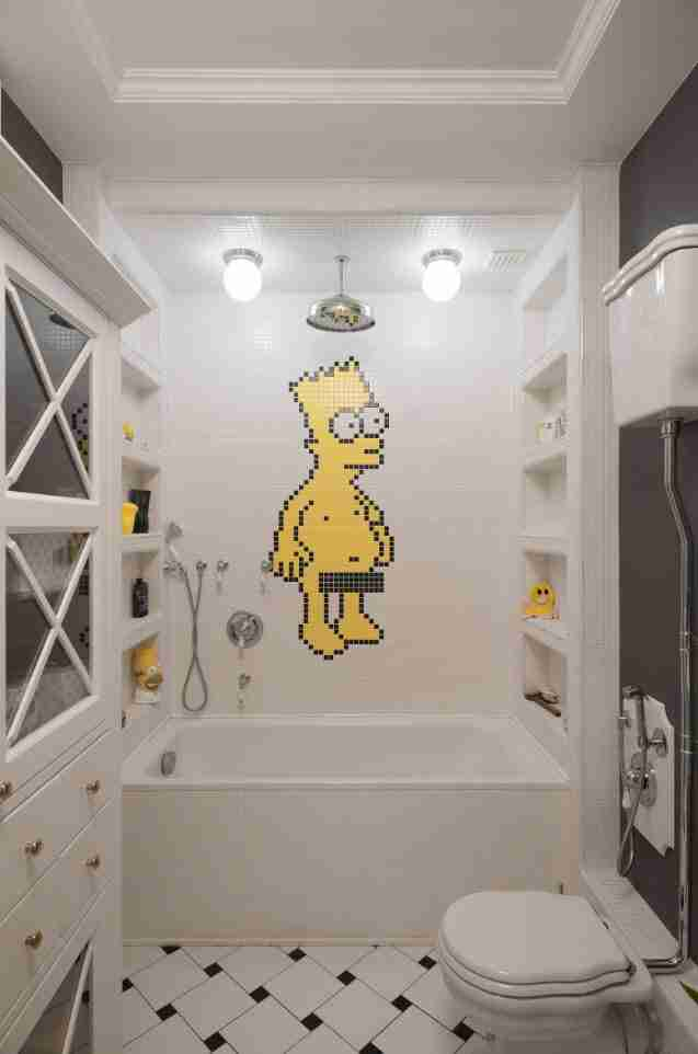 Homer Simpson at the accent wall of the bathroom
