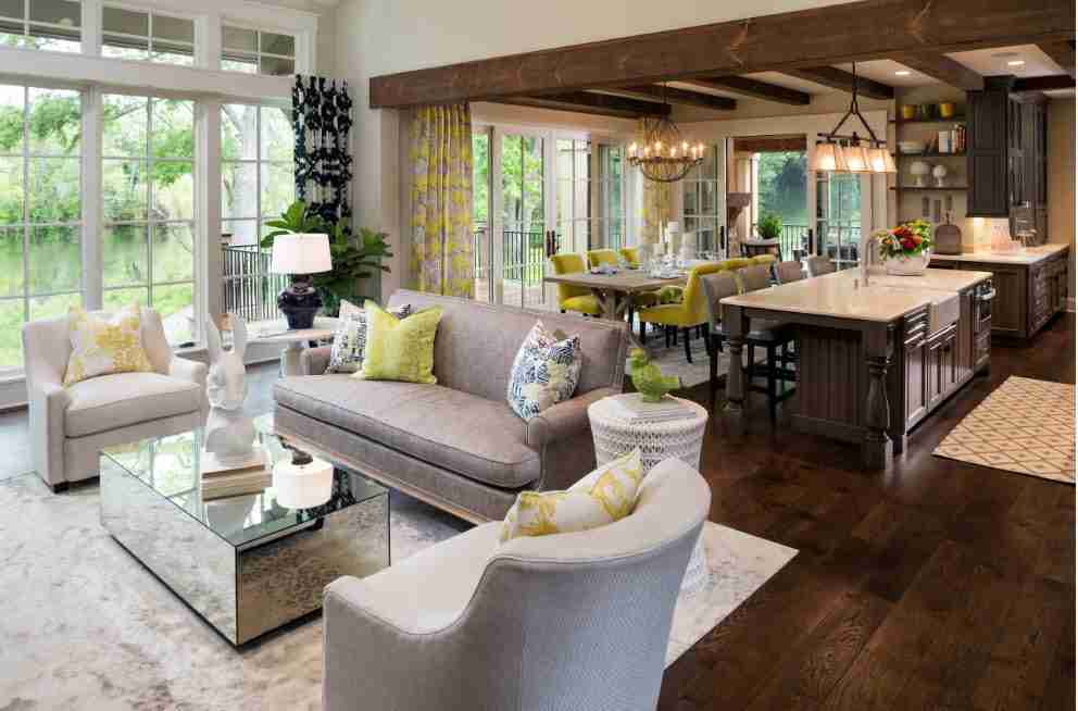 Dark walnut wall parquet and ceiling beams in the open layout designed cottage