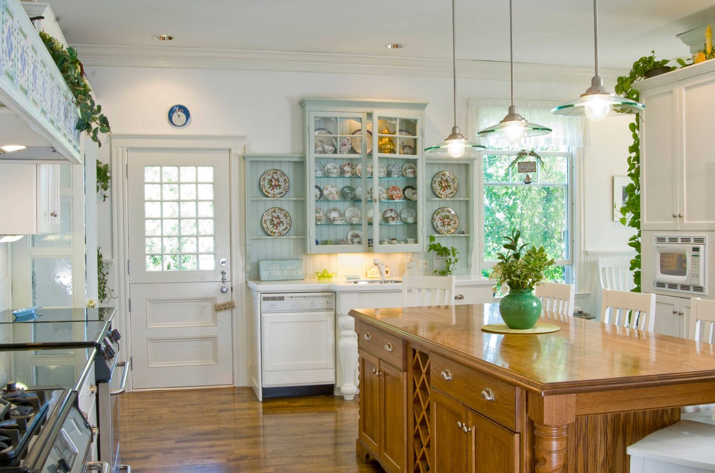 Classic kitchen design with light wooden island