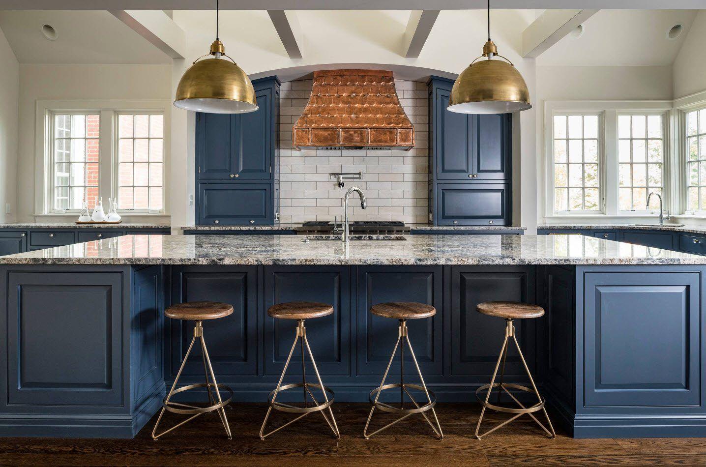 120 Square Feet Kitchen Interior Design Ideas with Photos. Classic design in blue