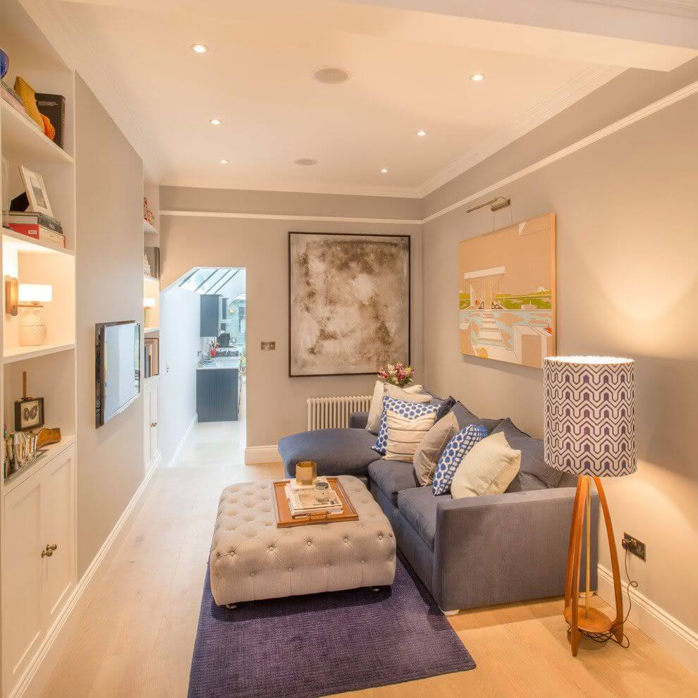 Gray styled room with warm artificial lighting