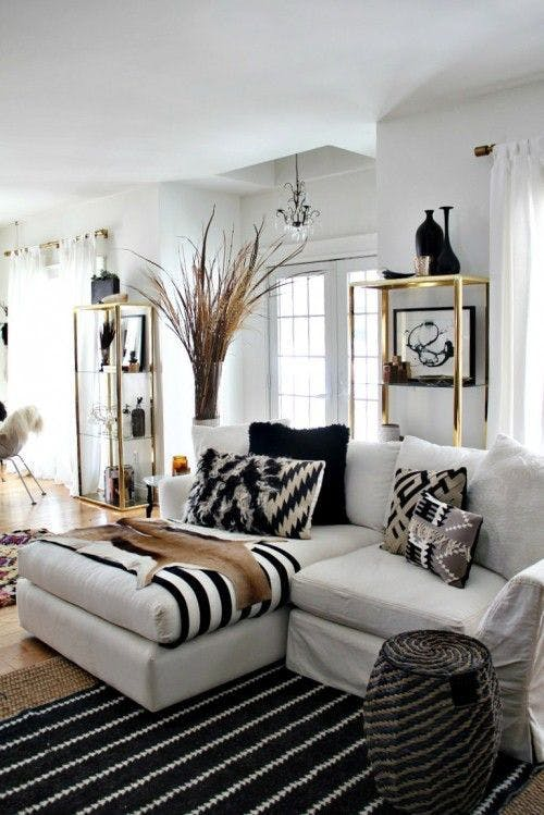 Vintage style for the light painted living room
