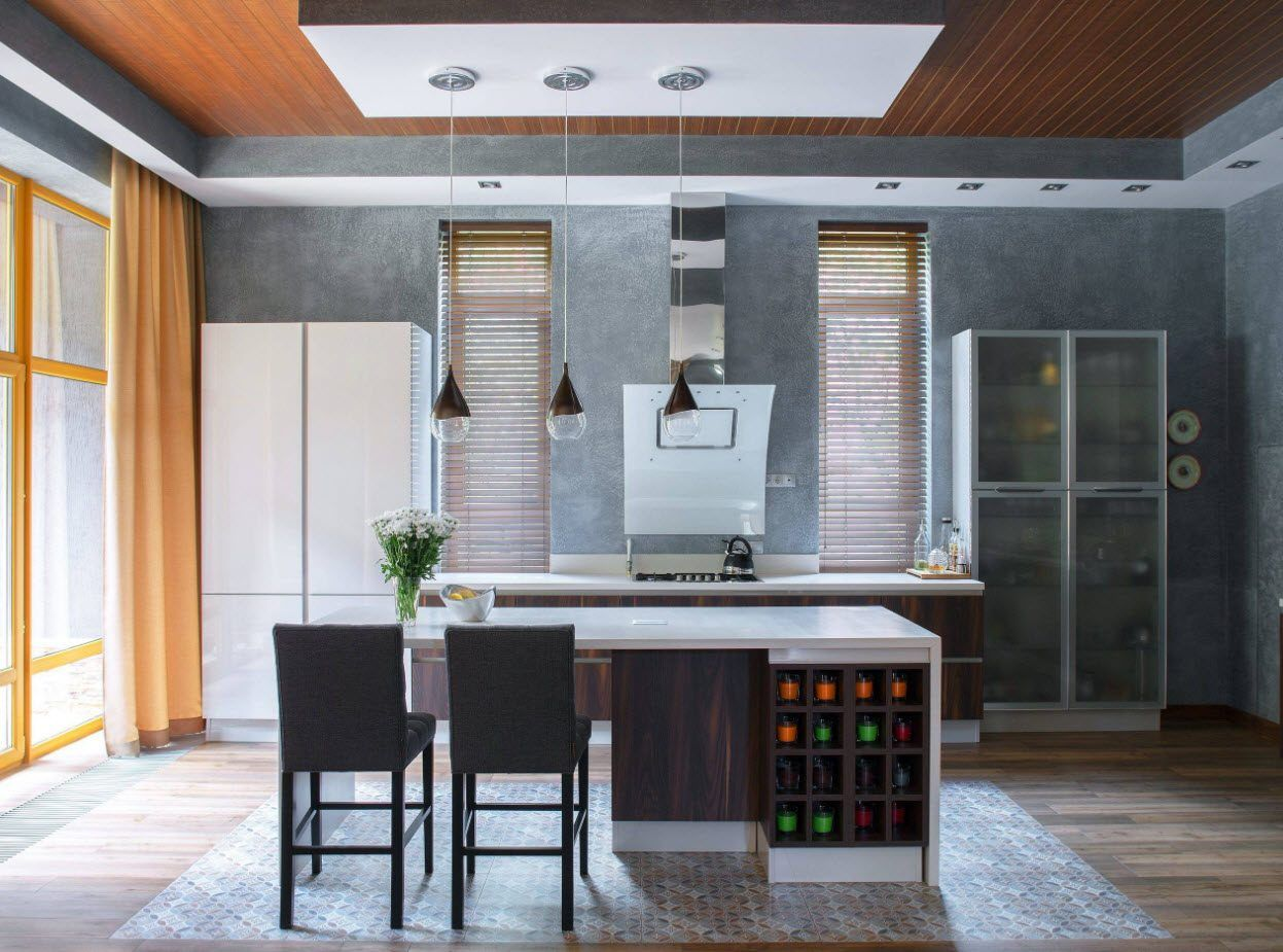 160 Square Feet Kitchen Design Ideas. Successful gray and ligth wooden color combination for casual space
