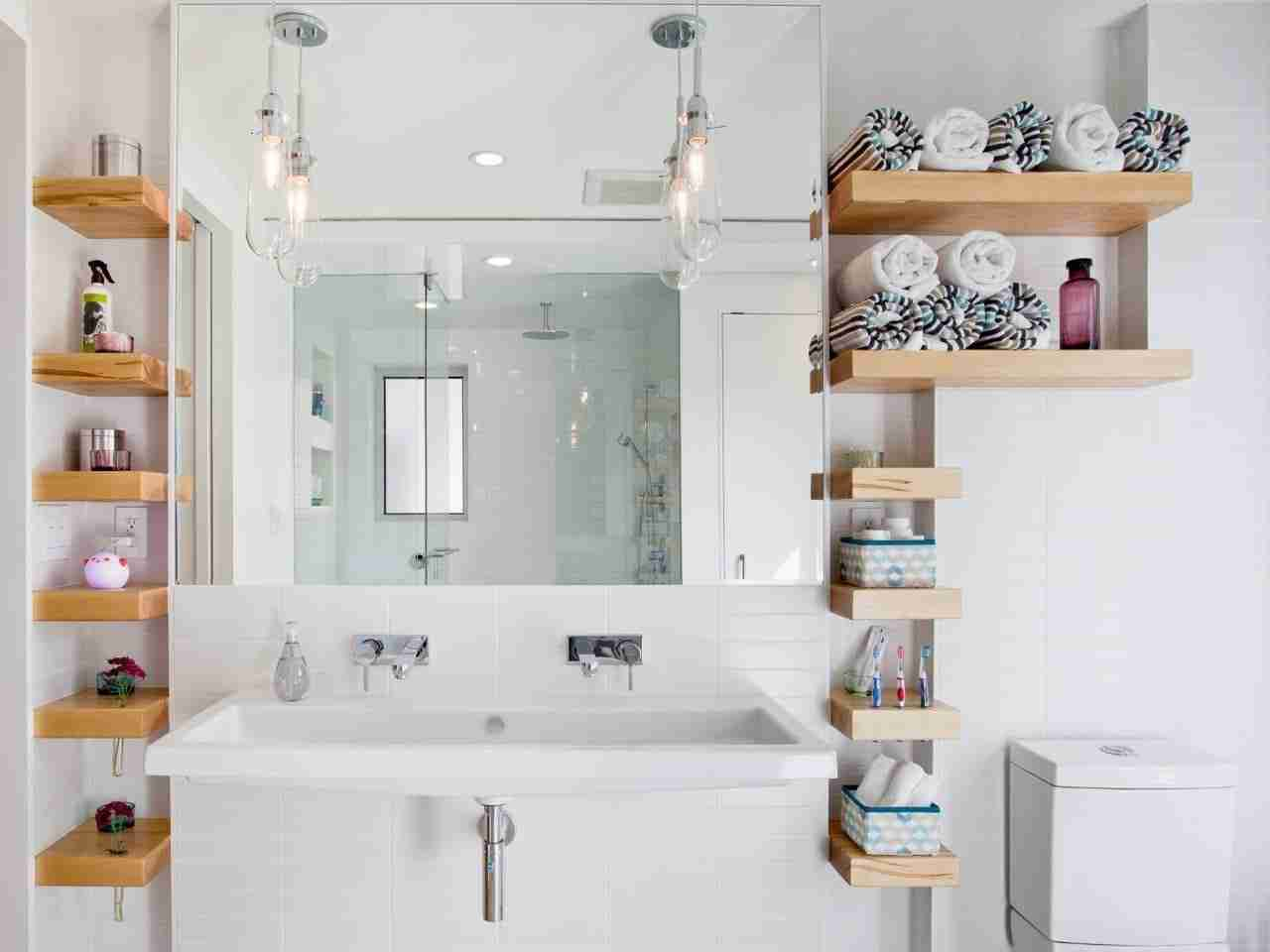 Bathroom Shelves: Fashionable Trends of Practical Interior Decoration. Snow-white modern bathroom design with wooden shelves