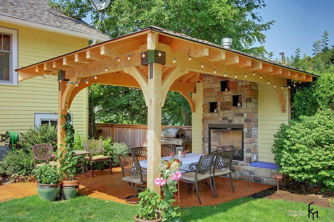 Backyard and Garden Gazebo: Design, Form, Use and Practical Advice. Light wooden gazebo
