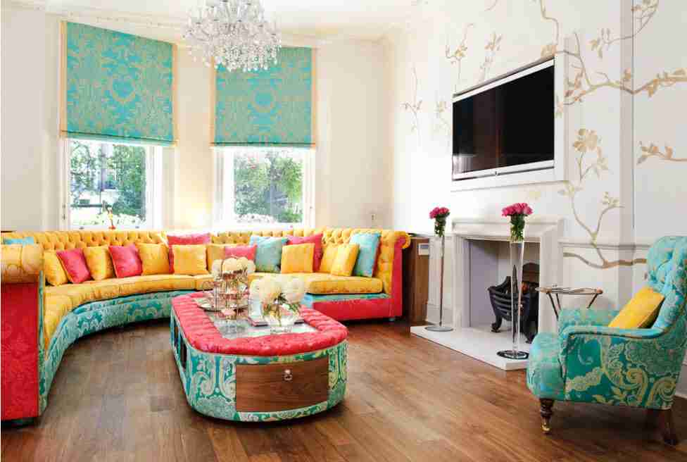 Turquoise curtains and decorative items, upholstering of furniture of the casual designed living room
