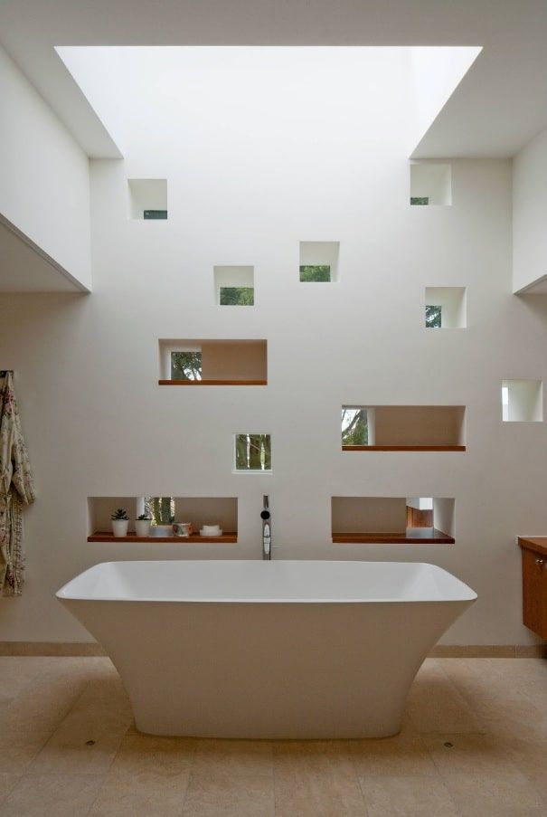 How to Design an All White Bathroom. Absolutely unusual modern design of the bathroom with recesses