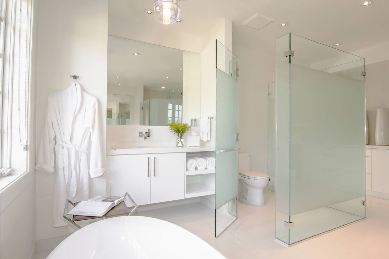 How to Design an All White Bathroom. Frosted glass countertop for the modern bathroom