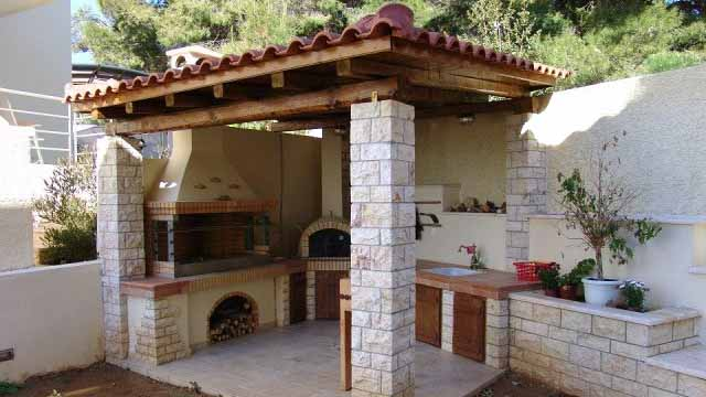 Gazebo with barbecue, slate roof and stone columns