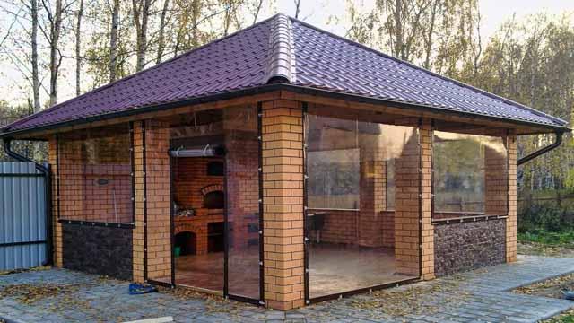 Grill gazebo with modern heat insulation idea of PVC film