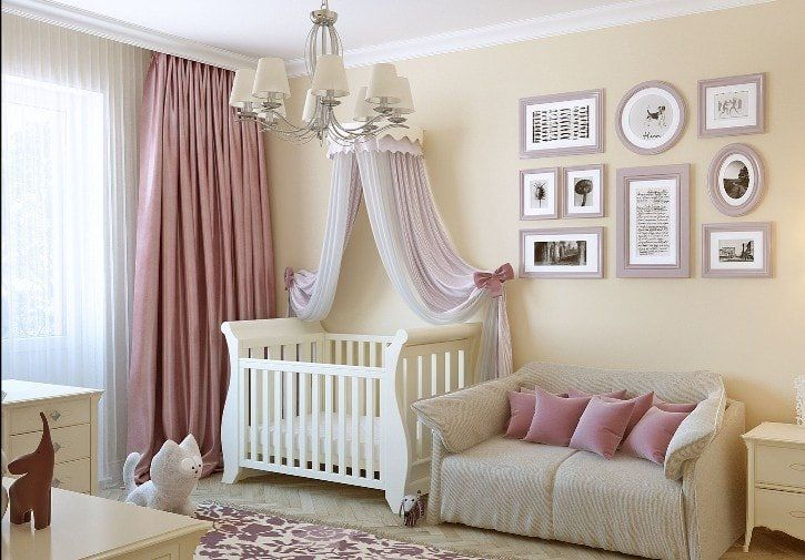 Beige Color Interior Decoration Ideas: Proper Combinations. Children's room with pink tulle over the crib