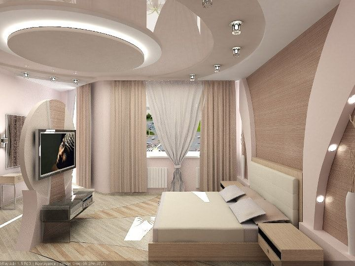 Beige decoration of walls in the modern bedroom with round lines at the ceiling