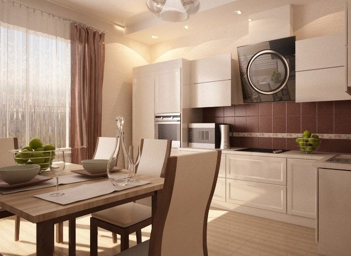 Natural light lit kitchen in beige decorations and with modular furniture set