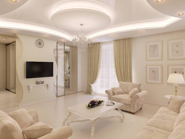 Large Classic styled living room with pastel color range