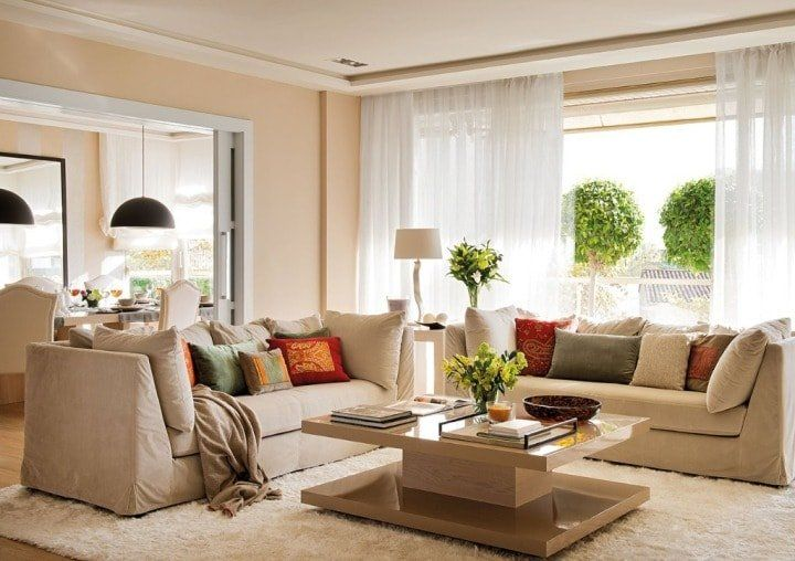 Shades of beige combinations with other colors for contemporary living room