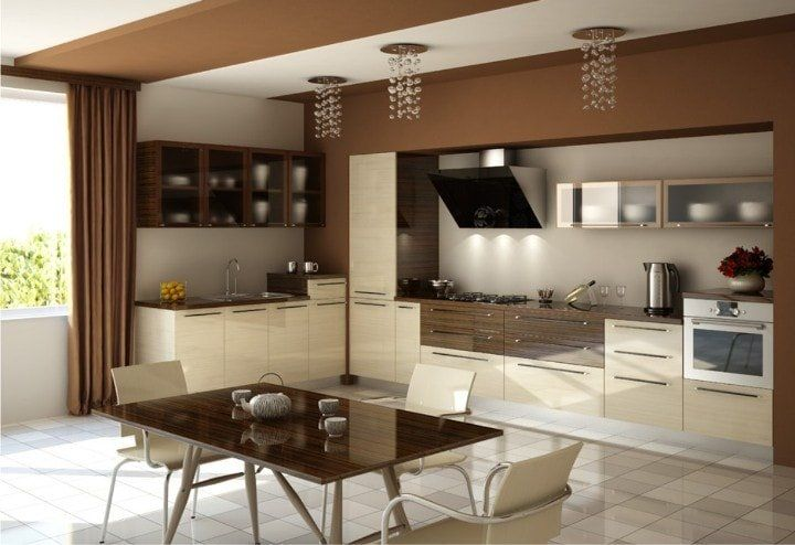 Beige Color Interior Decoration Ideas: Proper Combinations. Wood and paint to finish the large kitchen