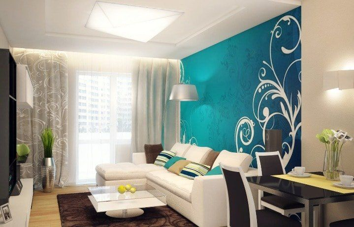 Beige Color Interior Decoration Ideas: Proper Combinations. Turquoise wallpaper with white pattern