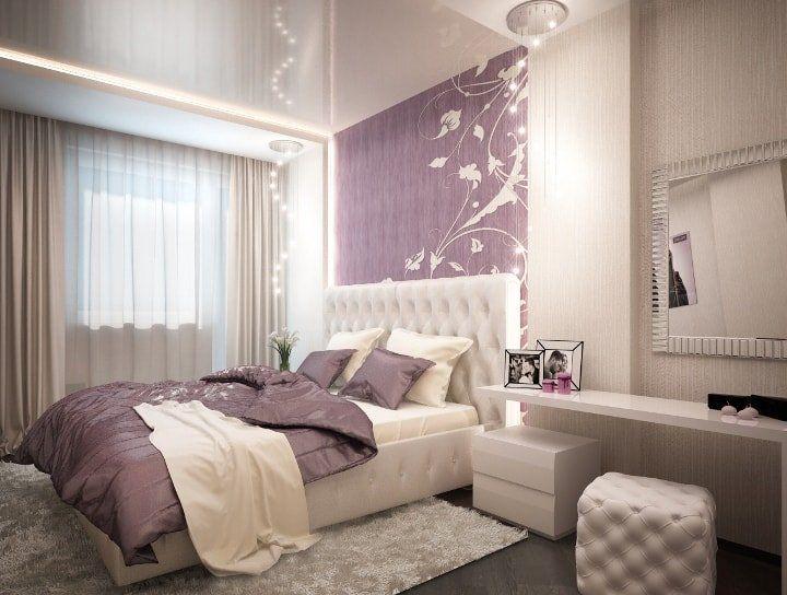 Beige Color Interior Decoration Ideas: Proper Combinations. Classic bedroom interior with purple background