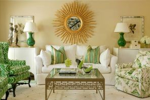 Beige Color Interior Decoration Ideas: Proper Combinations. Starburst gilded mirror and green decoration elements for the pastel colored Classic living