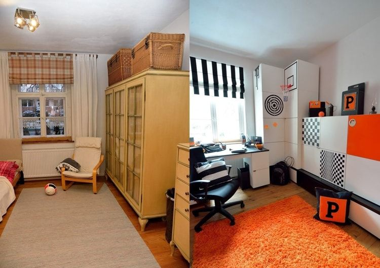 Interior Design Examples Before and After or why We Need a Designer. Kids' room revived with orange carpeting and light finishing