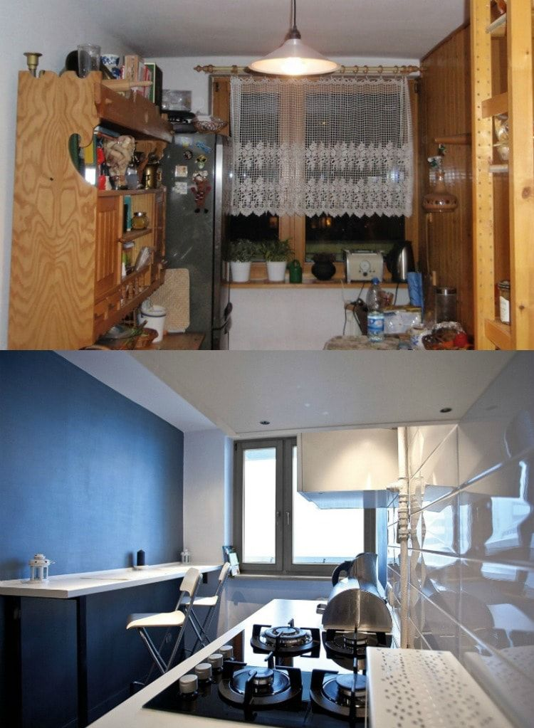 Cluttered and tight kitchen before renovation turns into successful galley after