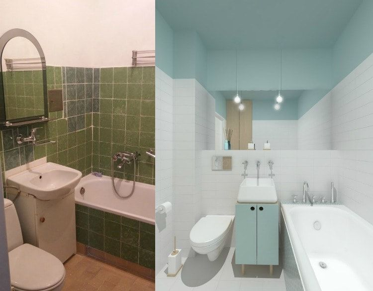 Interior Design Examples Before and After or why We Need a Designer. Green and white bathroom turned into modern blue space with mirroring wall cabinet