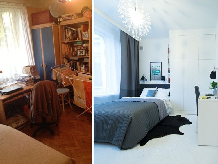 Interior Design Examples Before and After or why We Need a Designer. Small bedroom transformation to the contemporary styled relaxing space with dark curtains
