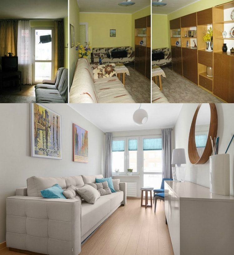 Interior Design Examples Before and After or why We Need a Designer. Narrow living room from classic to modern renovation