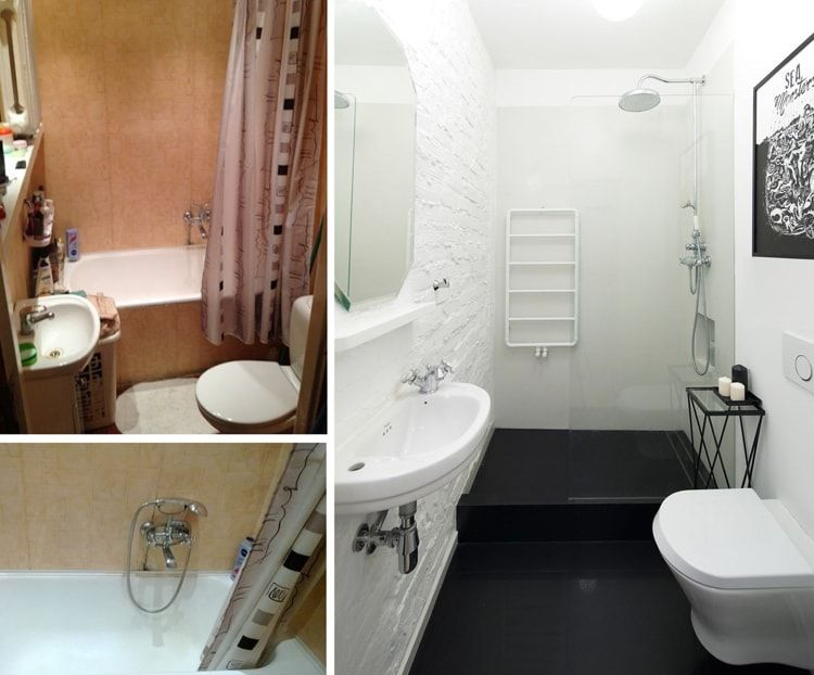 Interior Design Examples Before and After or why We Need a Designer. Example of turning the bathroom into small cozy place with white and black contrast