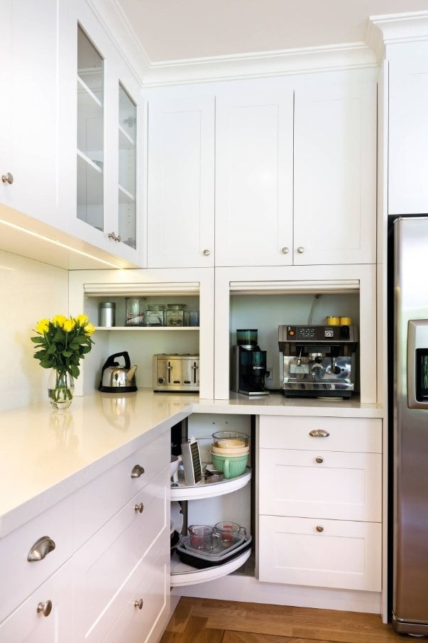 Things To Keep In Mind When Remodeling Your Kitchen. White kitchen facades and swivel cabinet in the angle