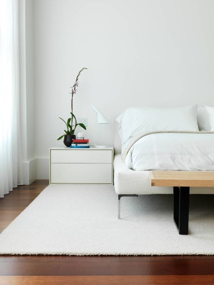 Minimalist Interior Design Examples in Different Rooms. Ideally white space with natural wood for legboard bench